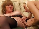 Mature and younger blonde fucking with toys