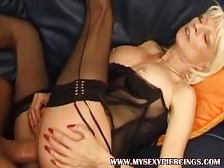 Blonde granny milf with pussy pierced and rings...