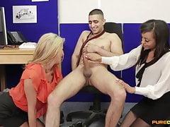 Tia Layne & Alyssa Divine Suck Their Coworker's Cock