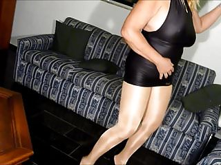 In shiny pantyhose...