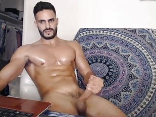 Arab muscle jerking off sperm...