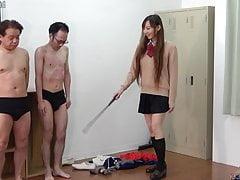 Cute Japanese in Mini Skirt Dominates Masochistic Men