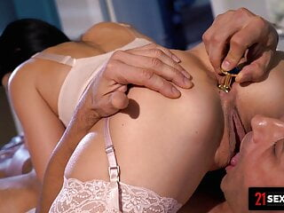 Busty Chick Swallows Stud's Whole Load After Anal