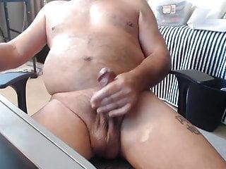 Pervert macho grandpa has low hanging balls