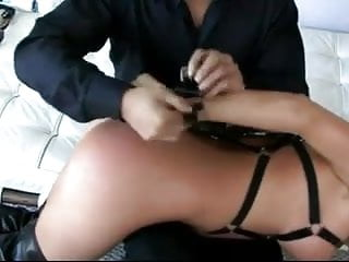 Blonde Bitch in Leather-based Harness ruled by way of Asion Man