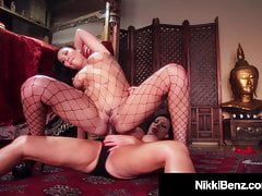 Busty Canadian Nikki Benz Dildo Fucks Asian London Keyes!