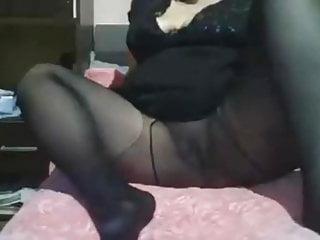 Black pantyhose no panties...