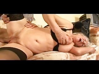 Granny toys her meaty pussy then gets drilled...