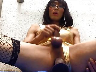 Japanese sissy faggot has fun...