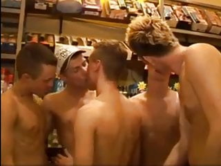 Big Cock Group of Hunks Suck and BB Fuck in Sex Shop