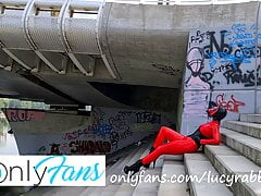 video from photoshoot - red latex catsuit with gas mask
