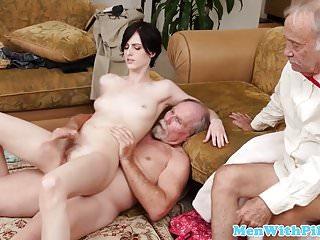 Girlnextdoor rides grandpa cock...