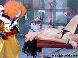 Petite Veruca James deepthroats clowns cock