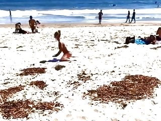 Britney Spears warming up on the beach