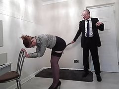 Sloppy secretary gives her boss a sloppy blowjob