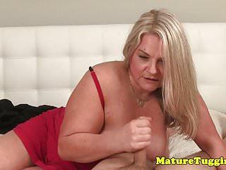 Mommy bbw giving pov man tugjob
