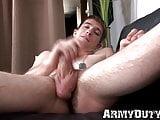 Cock guzzling army man masturbates his hairy dick solo