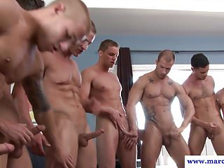 Muscled straight enjoys orgy with...