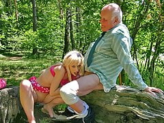 Hot blonde Teena Blond blows old cock to get an autograph