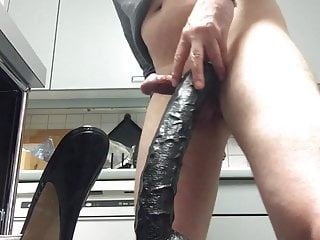 my wearing Riding monster Heel my Dildo High Mules