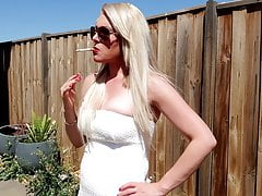 PREVIEW OUTDOOR BLONDE CHAIN SMOKING CIGARETTES FETISH