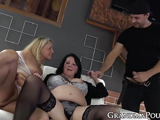 Threeway with two slutty grannies craving for young dick