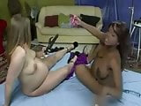 Black and white pregnant babes toying