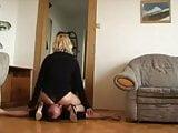 Blonde MILF face farts her husband in black panties