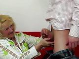Old lady suck and fuck young boy's cock