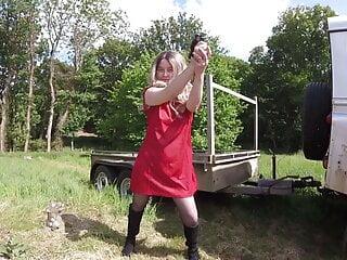 Star Trek Cosplay Blonde Ensign Haley Outdoors in pantyhose