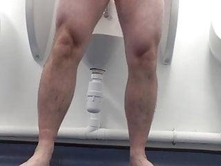 Naked wanking in a public restroom