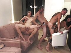 3 cocky guys fucked 2 sisters hard
