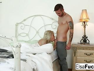 Elsa Jean gets woken up for a creampie