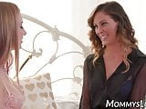 Lesbian mommy stockings is tribbing with her stepdaughter
