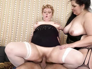 Taboo sex with two BBW mature moms