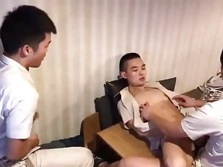 Chinese young boys after work threesome...