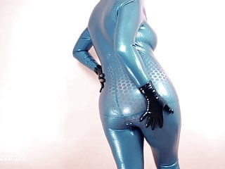 Blue Futuristic Texturized Latex Rubber Catsuit Arya Grander