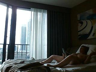 Voyeur hotel window public masturbation...