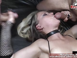 Closeup german creampie cum inside gangbang milf cum party