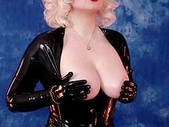 Latex Rubber Catsuit Tease by fetish model Arya Grander