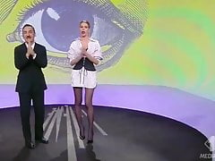 TV show Alessia in black pantyhose and heels