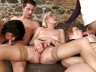 Mature milfs group fucked by young fuckers...
