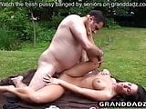 Horny exhibitionist lures old creepy guy into fucking her