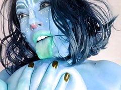 Na'vi vibrates blue pussy and sucks blue nipples