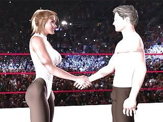 Femdom Blonde video: Ballbusting mixed wrestling