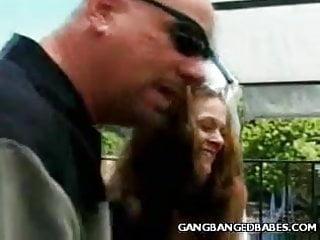 Brunette Outdoor Gangbang