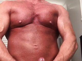 Intense groaning muscular daddy stroking and cum erupting