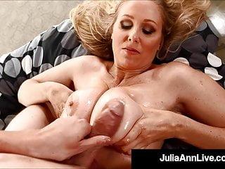 Cougar julia ann gets lubed cock between boobs...