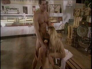 Salacious chicks share a cocky dude drilling them to orgasm