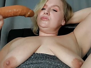 Fat blonde milf drools down double chin...
